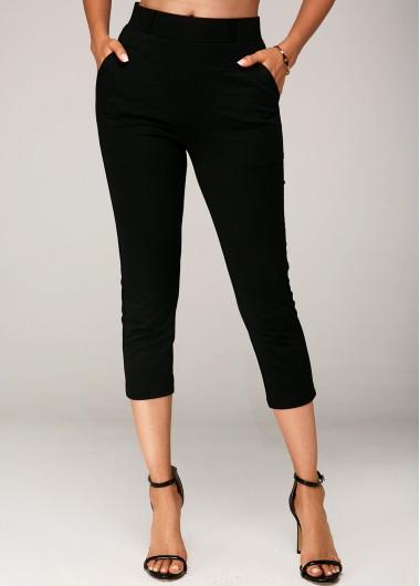 Modlily Side Pocket Black Elastic Waist Crop Pants - L