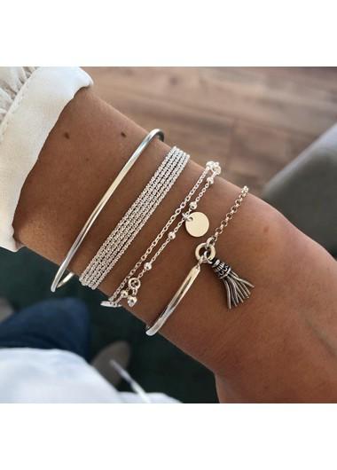 Modlily Multi Layer Tassel Silver Bracelet Set - One Size