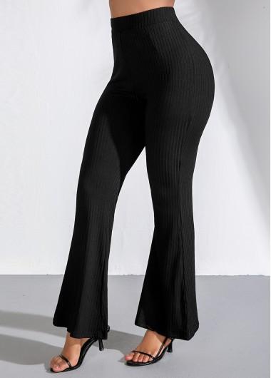 Modlily High Waist Black Elastic Flare Pants - XXL