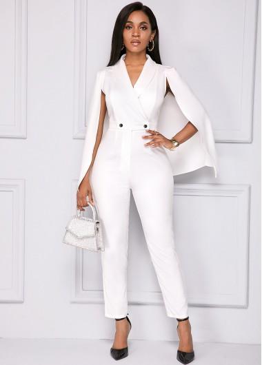 Modlily Cape Sleeve V Neck White Jumpsuit - L