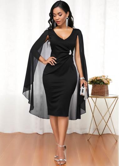 Modlily Christmas Holiday Dress Black Cape Shoulder V Neck Dress - XS