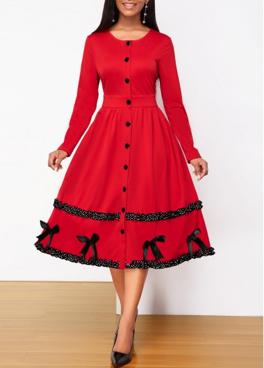 Modlily Christmas Holiday Dress Button Up Bowknot Detail Contrast Piping Dress - M