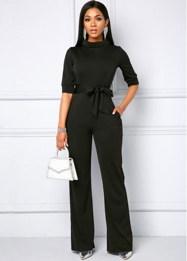 Modlily Belted Side Pocket Half Sleeve Jumpsuit - 2XL