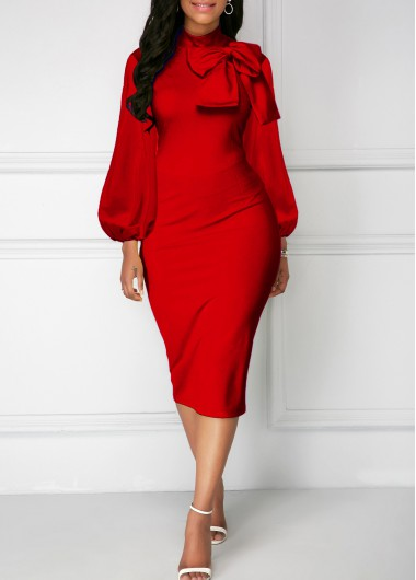 Modlily Bowknot Neck Red Lantern Sleeve Sheath Dress - S