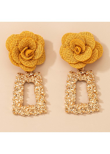 Modlily 2 X 5.5cm Tridimensional Flower Metal Earring Set - One Size