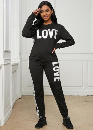 Modlily Letter Print Round Neck Long Sleeve Sweatsuit - XL