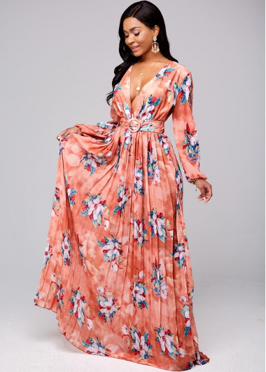 Modlily Buckle Belted Floral Print Pleated Hem Dress - S