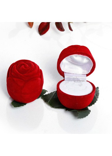 Modlily 2.0 X 2.0 X 2.0 Inch Rose Design Flocking Ring Box - One Size