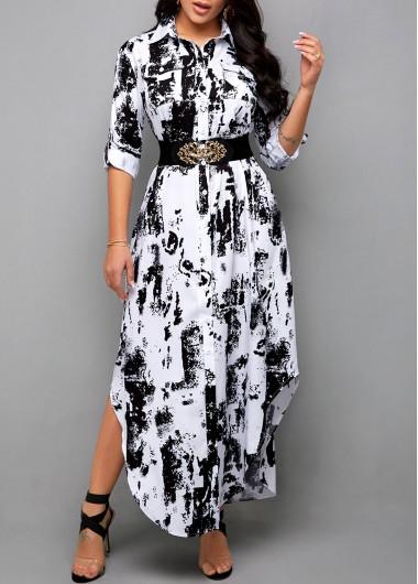 Modlily Asymmetric Hem Tie Dye Print Shirt Dress - L