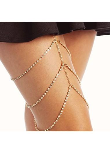 Modlily Rhinestone Detail Gold Metal Layered Body Chain - One Size