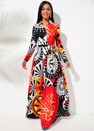 Modlily Belted Printed Button Up Maxi Dress - L