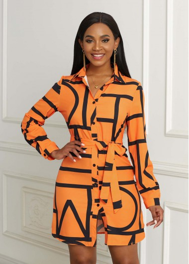 Modlily Belted Geometric Print Button Up Dress - S