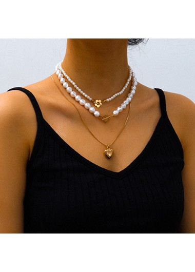 Modlily Layered Heart Pendant Pearl Detail Necklace - One Size