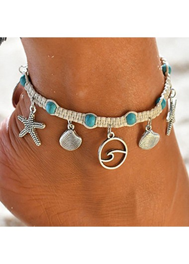 Modlily Turquoise Seashell Design Silver Metal Anklet - One Size
