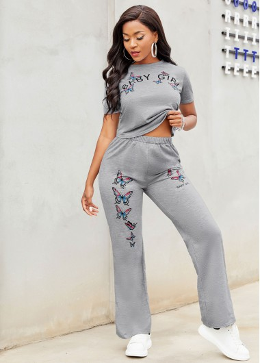 Modlily Butterfly Print Round Neck Short Sleeve Sweatsuit - L