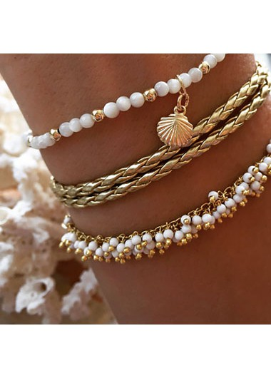 Modlily Sea Shell Design Metal Detail Anklets - One Size