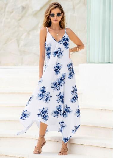 Modlily Asymmetric Hem Floral Print Spaghetti Strap Dress - L