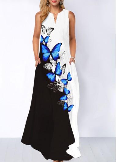 Modlily Butterfly Print Split Neck Pocket Dress - M