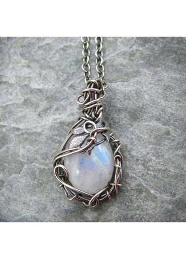 Modlily Moonstone Pendant Metal Detail Silver Necklace - One Size