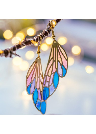 Modlily Rainbow Color Butterfly Wings Design Earring Set - One Size