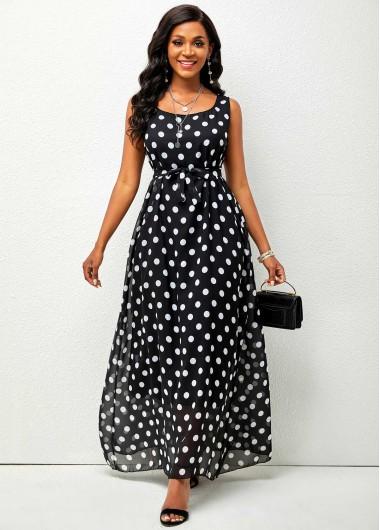 Modlily Chiffon Polka Dot Belted Maxi Dress - 2XL