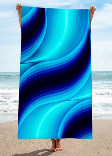 Modlily Wavy Print Ombre Square Design Beach Blanket - One Size