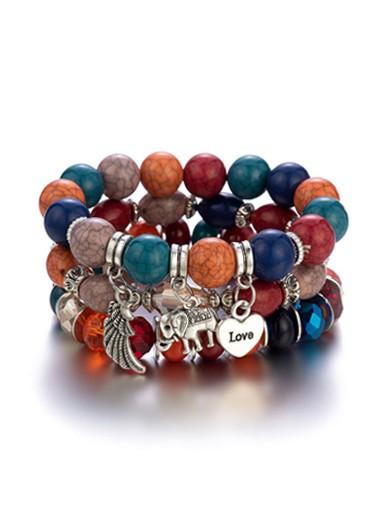 Modlily Elephant and Heart Design Acrylic Detail Bracelets - One Size