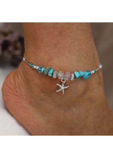Modlily Starfish Pendant Turquoise Metal Detail Anklet - One Size