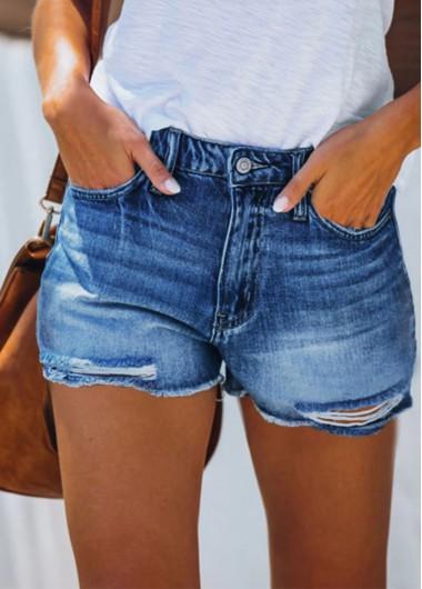 Modlily High Waisted Shredded Double Pocket Shorts - L