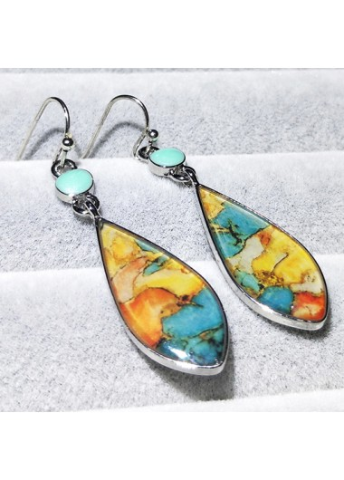 Modlily Retro Colorful Metal Detail Earring Set - One Size