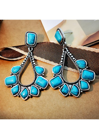 Modlily Waterdrop Design Turquoise Detail Earring Set - One Size