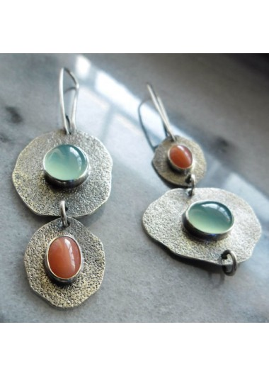Modlily Metal Detail Jade Inlaid Design Earrings - One Size