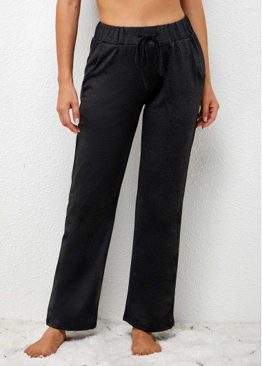 Modlily High Waisted Elastic Waist Tie Front Solid Pants - 5XL