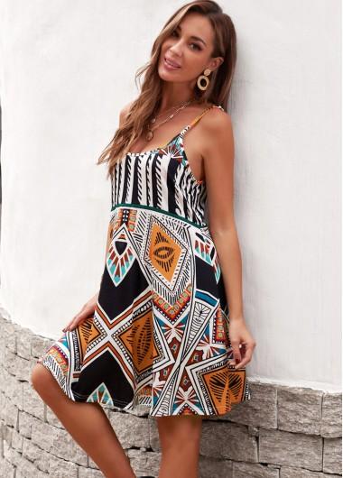 Modlily Bohemian Spaghetti Strap Geometric Print Dress - S