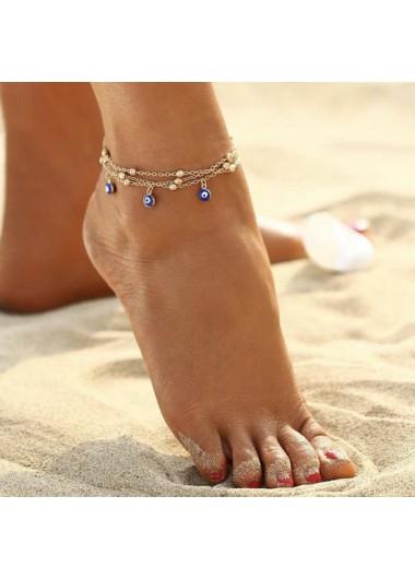 Modlily Eye Design Gold Metal Detail Anklet - One Size