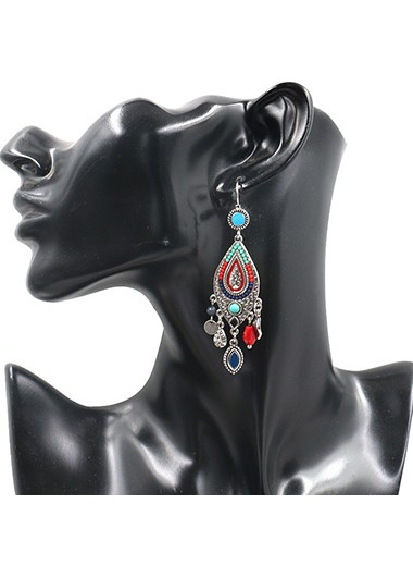 Modlily Multi Color Waterdrop Design Metal Detail Earring Set - One Size