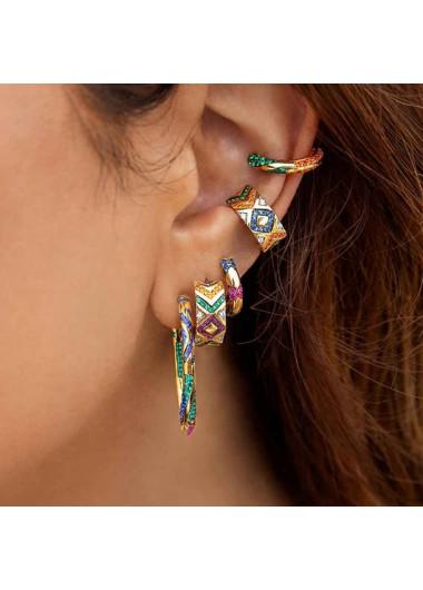 Modlily 1 Pair Metal Detail Rhinestone Earrings - One Size