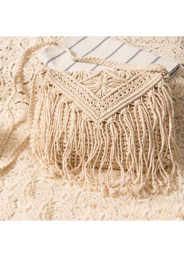Modlily Tassel Detail Knitted Design White Crossbody Messenger Bag - One Size