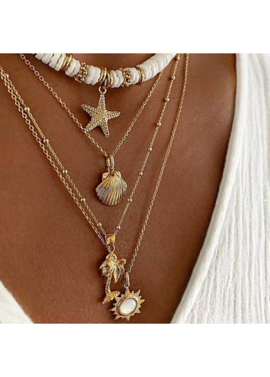 Modlily Starfish Shell Detail Layered Design Necklace - One Size