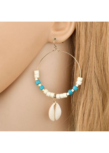 Modlily Metal Detail Conch Design Earring Set - One Size
