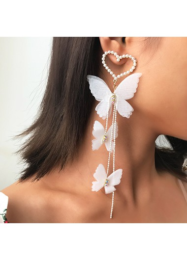 Modlily Pearl Detail Butterfly Design Metal Earring Set - One Size