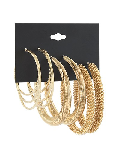 Modlily Gold Circular Design Metal Detail Earring Set - One Size