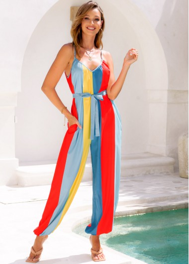 Modlily Double Pocket Belted Spaghetti Strap Rainbow Stripe Jumpsuit - L