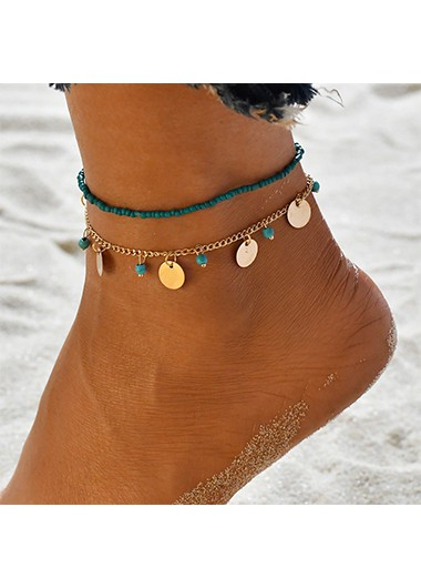 Modlily Beads Design Turquoise Metal Detail Anklets - One Size