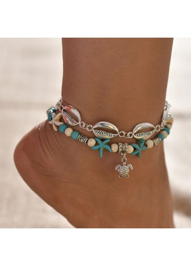 Modlily Layered Shell Design Metal Detail Anklet - One Size