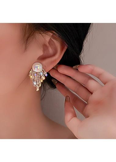 Modlily Rhinestone Detail Pearl Design Tassel Earring Set - One Size