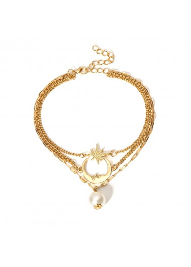 Modlily Pearl Design Layered Detail Gold Anklet - One Size
