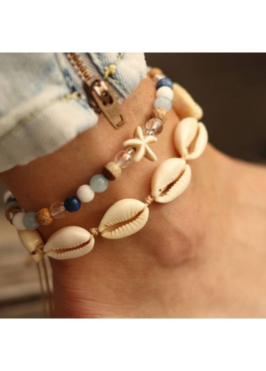 Modlily Conch and Shell Design Metal Detail Anklets - One Size