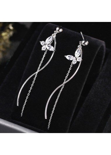 Modlily Butterfly Design Rhinestone Detail Silver Earring Set - One Size