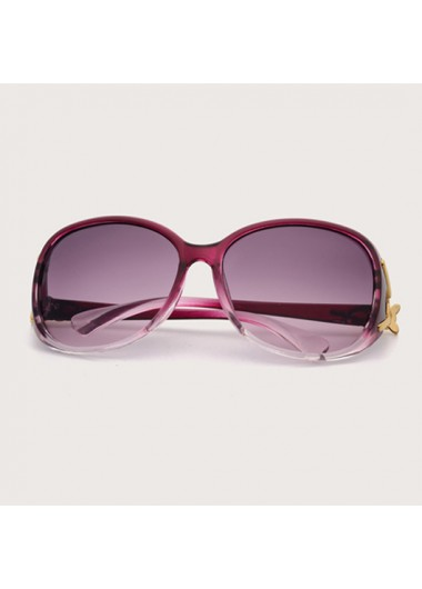 Modlily Cat Eye Frame TR Metal Detail Sunglasses - One Size